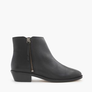 J.Crew Black Tumbled Leather Frankie Ankle Boots